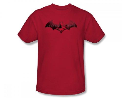 Batman: Arkham City - En La Ciudad Slim Fit Camiseta adulta In Red, XX-Large, Red