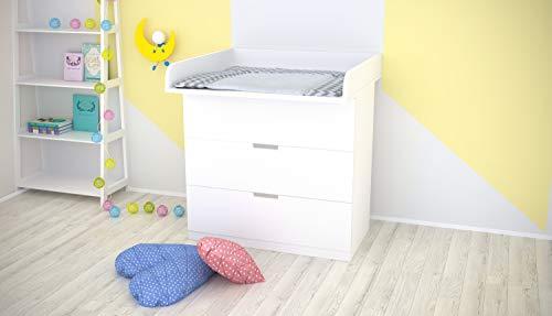 Polini Kids Wickelaufsatz Wickeltischaufsatz für Kommode IKEA Nordli in weiß