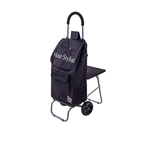 TuscanyPro Hairstylist Cart with Folding Chair - Unique Folding Trolley Dolly with Chair & A Hairstylist Bag - US Patented - 10 Years Warranty - Personalize with Name/Logo