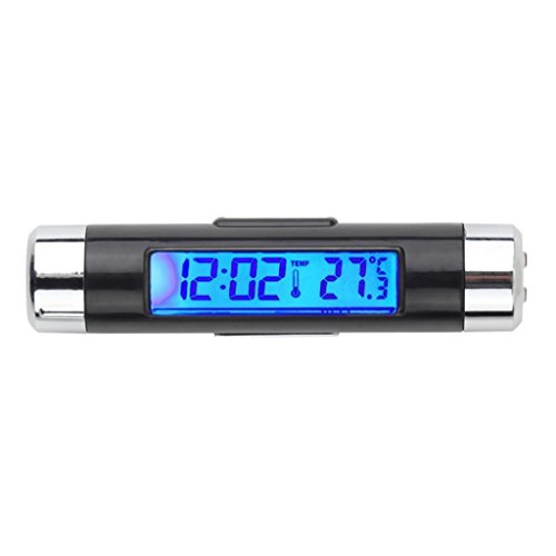 Livecity® Auto LCD digitales Clip-Hintergrundbeleuchtung Automotive Thermometer Uhr Kalender Display