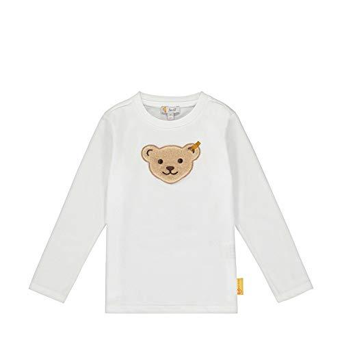 Steiff Jungen mit Teddybärmotiv Langarmshirt, Weiß (Bright White 1000), 98 (Herstellergröße: 098)