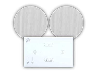 "Systemline E50 Built-In Bluetooth Amplifier Hi-Fi Speaker System (White) & 6.5"" Ceiling Speakers (1 Pair 6.5"" Qi65CB Ceiling Speakers) from Systemline"