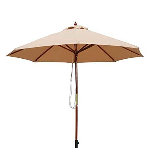NanXi 3m Runder Garten Sonnenschirm-Regenschirm, Außensonnenschutz für Terrasse/Strand/Pool Regenschirme, Holz Pulley Operated,Beige