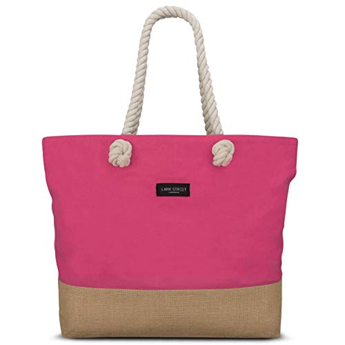 Beach Bag Pink - LARK STREET Travel Tote for Women & Men Made of Sturdy Cotton Canvas & Jute - Swim Bag with Wide Rope Handles for Comfort - Large Carrier Bag with Zipper