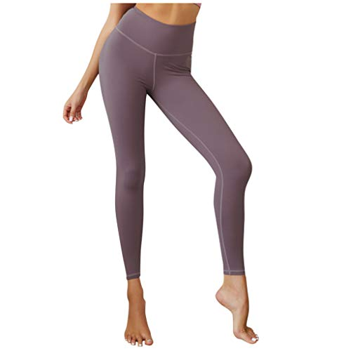 KLGDA_Shapewear KLGDA Women s Tight-Fitting Leggings Solid Color High Waist Sports Yoga Pants Purple