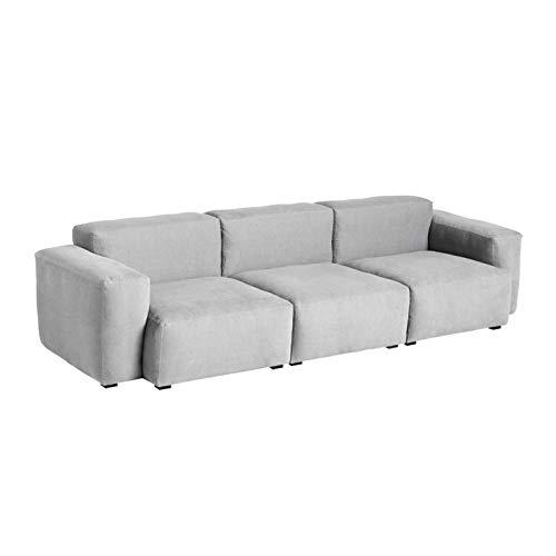 HAY Mags Soft 3-Sitzer Sofa Armlehne niedrig, hellgrau Naht hellgrau Stoff Linara 443 Füße Kiefernholz schwarz gebeizt mit Filzgleitern