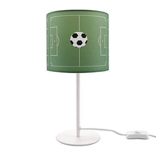 Kinderlampe LED Tischlampe Kinderzimmer Junge Fußball Spielfeld Tischleuchte E14, Lampenfuß:Weiß + Leuchtmittel, Lampenschirm:Grün (Ø18 cm)