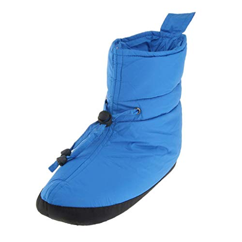 Tubayia women's and men's down shoes, indoor outdoor slippers, non-slip winter boots for camping tent, sleeping bag, Blue 25 cm