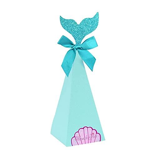 Poja fiesta de la sirena BRICOLAJE Bolsas de caja de papel Sirena caja de dulces para baby shower boda niños fiesta de cumpleaños decoración de regalo de regalo ( Color : B , Gift Box Size : 20pcs )