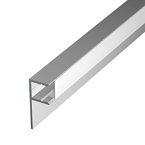Perfil de aluminio MOLA para azulejos de aluminio anodizado de 2 m, para tiras LED de hasta 1 cm de ancho, perfil en U + cubierta acrílica blanca lechosa (ópalo) + tapas