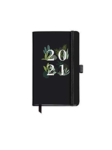 Miquelrius - Agenda Annuale 2021, Black Jungle - Spagnolo/Inglese, Vista Settimanale, Carta 70 g, Copertina Rigida in Cartone, Colore Nero Formato 90 x 140 mm (SV)