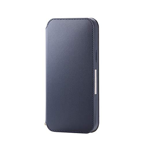 エレコム iPhone 12 Pro Max ケース ソフトレザー 磁石付 ネイビー PM-A20C…
