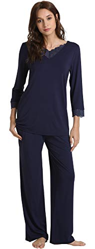 WiWi Womens Long Sleeve Sleepwear Laced V Neck Pjs Stretchy Pajama Set Top with Pants Plus Size Loungewear S-4X, Navy, X-Large