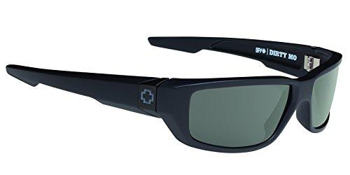 Spy Optic Dirty MO Sunglasses, Soft Matte Black/Signature Happy Gray/Green Polar, 59 mm
