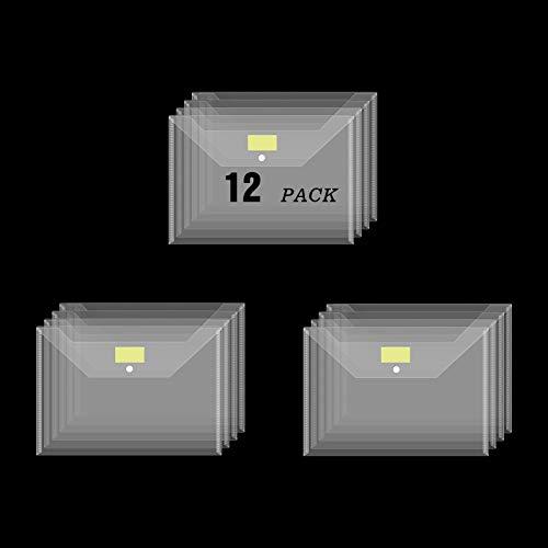 Rivama 12 Pack Plastic Envelopes Folders,Clear Document Folders with Label Pockets,A4 Size US Letter File Folders File Envelopes with Snap Closure for Work School Teacher Office Organization Storage