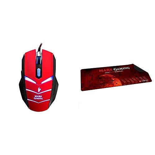 MARSGAMING MMVU1 Ratón Gaming para PC (5000 dpi, Sensor óptico Avago, iluminación LED en 7 Colores + MMP2 Alfombrilla de ratón para Gaming (Alta precisión con Cualquier ratón