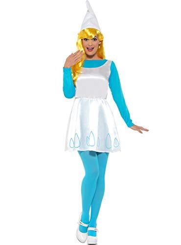 Funidelia | Disfraz de Pitufina Oficial para Mujer Talla S ▶ The Smurfs, Dibujos Animados, Los Pitufos, Enanito - Azul, Vestido Impreso con Cola incluida, Medias, Gorro.