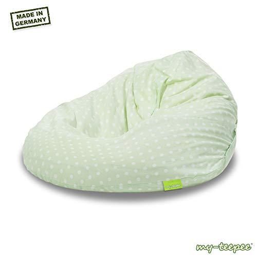 my-teepee MT05gn Sitzsack für Kinder, Durchmesser 70 cm, Volumen 100 Liter, Made in Germany, schadstofffrei, mit separatem Innensack und hochwertiger EPS-Kugelfüllung, grün mit weißen Punkten