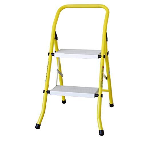 Ladder mit Fischgrätmuster 2 Stufen - Tragbare Folding Stufenleiter mit Armlehnen, Leichtstahl-Fuß-Leiter, Anti-Rutsch-Sicherheits Pedal Stabilität und Sicherheit