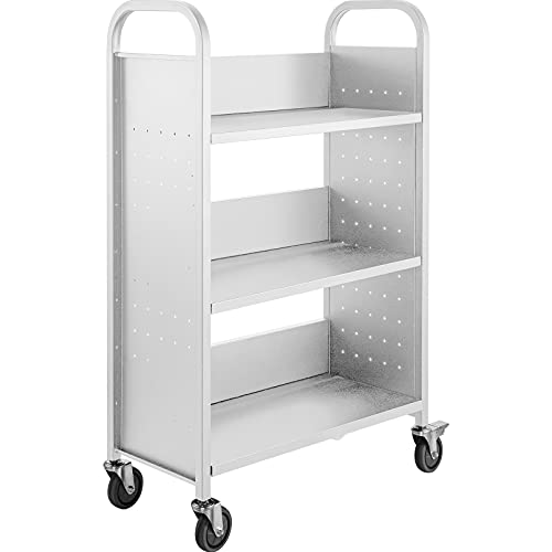 BestEquip Book Cart, 200LBS Library Cart, 49.2''x29.5''x13.8'' Rolling Book Cart, Single Sided L-Shaped Flat Shelves with Lockable Wheels for Home Shelves Office School Book Truck White