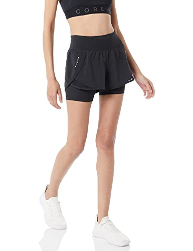 Amazon Brand - Core 10 Women's (XS-3X) Knit Waistband '2-in-1' Run Short with Built-in Compression Short, black, X-Large
