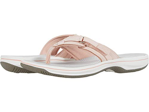 Clarks Women's Breeze Sea Flip-Flop, Blush Synthetic, 9