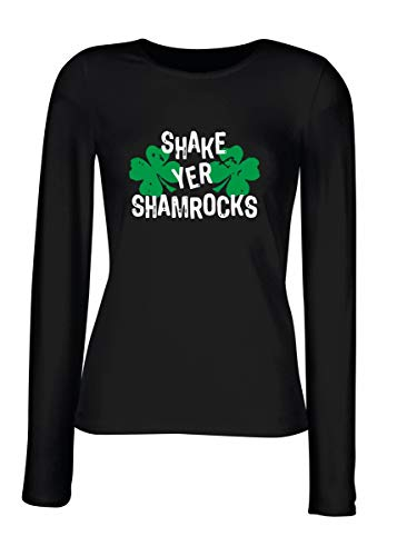 T-Shirt para Las Mujeres Manga Larga Negra TIR0176 Shake YER Shamrocks