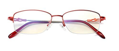 Alsenor Progressive Multifocal Computer Reading Glasses Blue Light Blocking Reader Glasses Frame For Men And Women (Red, 2.0 x)