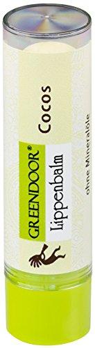 Greendoor Lippenbalsam Cocos, natürlicher Lippenpflege-Stift, BIO Jojobaöl Naturkosmetik Lippenbalm, Kokos-Nuss Lip-Balm Natur Pflege und Schutz gegen trockene Lippen, Geschenke