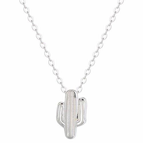 Colgante minimalista para collar de un cactus espinoso del desierto, de plata de ley 925, joyería hecha a mano