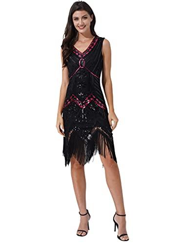 Freebily Robe Danse Tango Latine Femme Robe Année 1920 Franges Flapper Élégant Costume Charleston Robe Soirée Bal Fête V Cou Paillette Rouge&Noir XXL