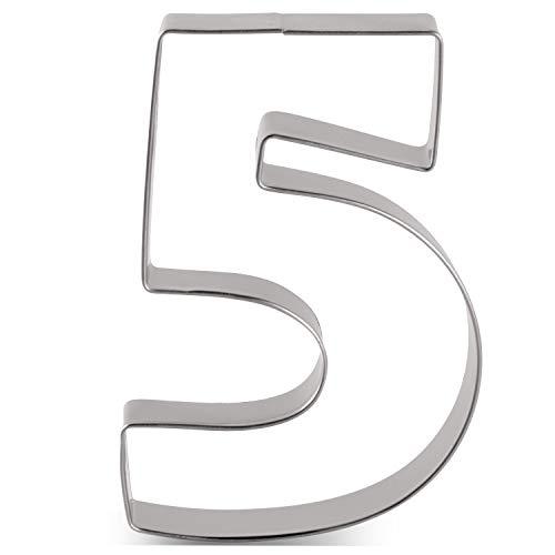 KENIAO - Tagliapasta per biscotti, numero 5, per compleanno, anniversario, giorno speciale, 6,6 x 9,1 cm, in acciaio INOX