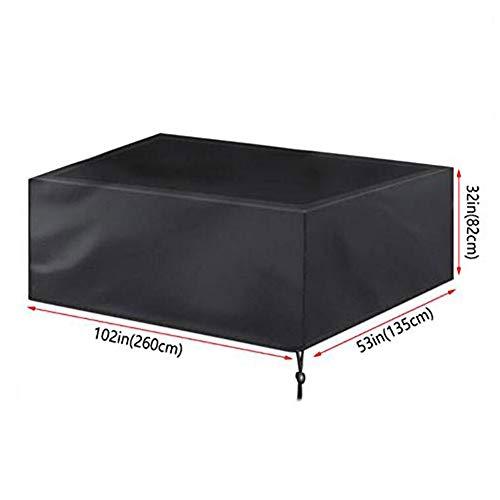 Funda para muebles de mesa de billar de jardín, patio, rectangular, juego de mesa y silla, impermeable, resistente al viento, anti UV, apto para patio, balcón, tamaño 225 x 116 x 82 cm