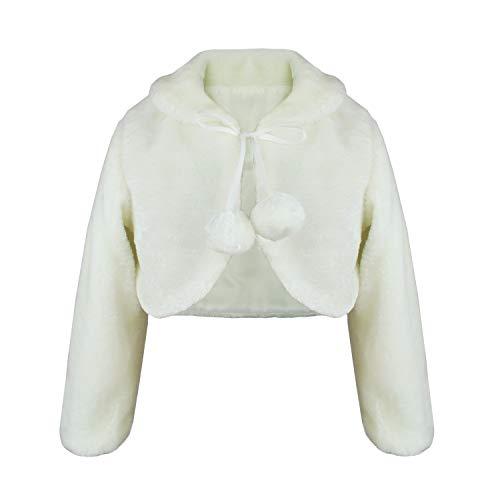 Abbyabbie.Li Girls Dress Coat Princess Faux Fur Flower Bolero Shrug Long Sleeve Jacket Kids Pompom Party Wedding Ivory White Cape for 1-12Y