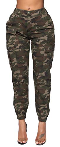 Women's High Waist Jogger Pants - Casual Cargo Elastic Waistband Camo Sweatpants Tapered Fatigue with 6 Pockets C-01 M