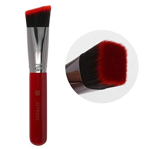 Heng Foundation Pinceaux de Maquillage Tilt Tête Plate Métal Bois Poignée de Peinture Correcteur Brosse Outils de Maquillage, Inclinaison Rouge