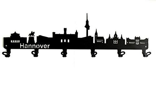 steelprint.de Wandgarderobe - Skyline Hannover - Flurgarderobe - Niedersachsen - Kleiderhaken, Hakenleiste, Garderobeneiste, Garderobenhalter, Garderobe - Metall, schwarz