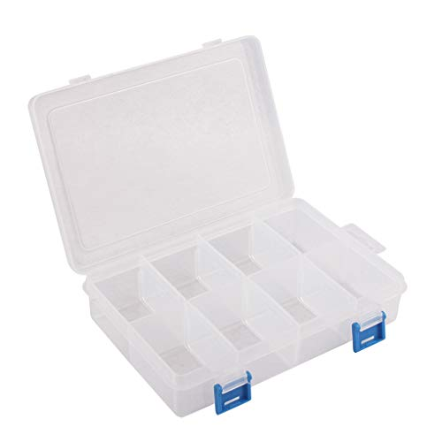 BangQiao Plastic Parts Storage case and Adjustable Divider Box for Hardware, Craft and Bead, 8 Grids, Clear