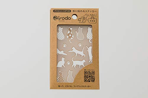 Irodo Aufkleber für Stoff (kein Bügeln nötig) - Katze weiß