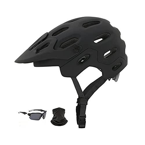 JQDMBH Casco Bici,Casco Bicicletta Donne da Uomo Ultralight Riding Cycling Casco Sport all'aperto Casco Bicicletta Bicicletta in-Mold Bike Bike Mountain Bike Casco (Color : Black 2, Size : M(54-58))