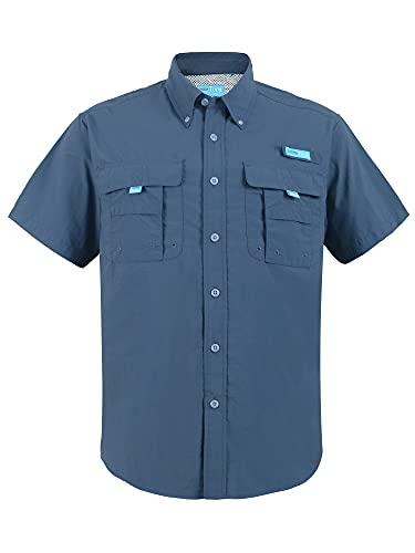 Tuna Men's UV UPF 50+ Sun Protection Waterproof Breathable Outdoor SPF Hiking Camping Magellan Fishing Short Sleeve Shirts (5# XL Navy)