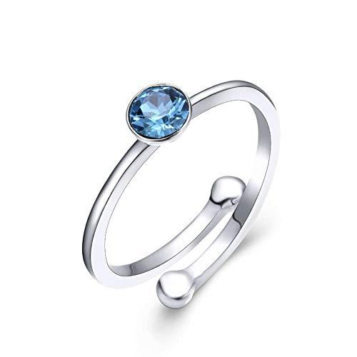 CTDMMJ Anillo de Plata con Piedras Preciosas de Aguamarina Redonda para el Encanto de Las Mujeres Regalo de Boda joyería-Redimensionable_Azul