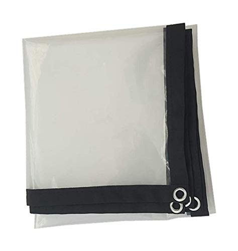 Glass Clear Tarpaulin SHIJINHAO Clear Tarpaulin 2-sided Waterproof Dust-proof Black Edge Plastic Cloth Plant Cover PE Material Metal Hole, 24 Sizes (Color : Clear, Size : 4X7M)