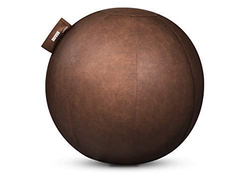 NOVUS Pila Design Sitzball (Durchmesser 65 cm, bis Körpergröße 179cm) braunes Lederimitat im Vintage-Look