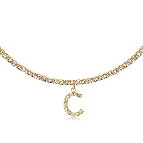 Letter C Necklaces for Women 14K Gold Plated Cubic Zirconia Initial Choker Tennis Chain Necklace