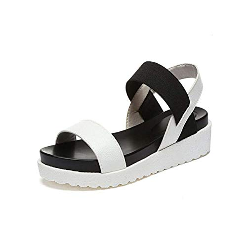 2019 Summer Leopard Grain Sandals Women Sandals Shoes Woman Peep-Toe Flat Shoes Roman Sandals Women Sandals White 36