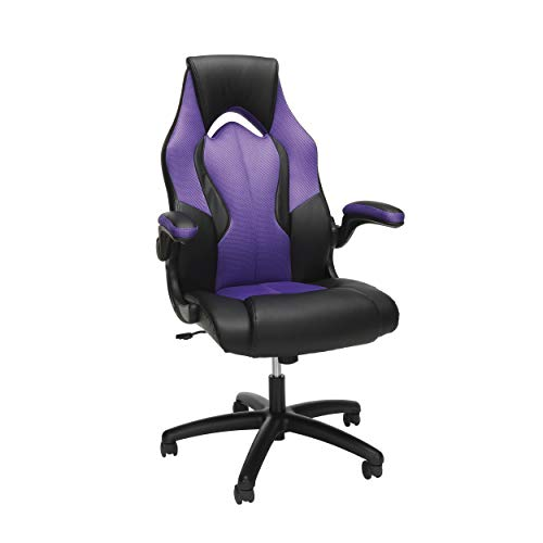 OFM Essentials Collection High-Back Racing Style Bonded Leather Gaming Chair, in Purple