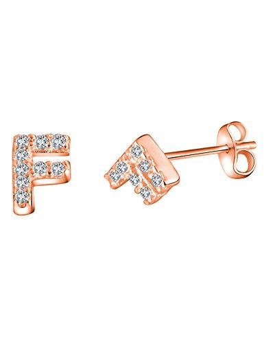 Orecchini a lobo in argento Sterling 925 e placcati in oro rosa da 14 k, raffinati, a forma di lettera O, colore: F, cod. JE10425RG0F