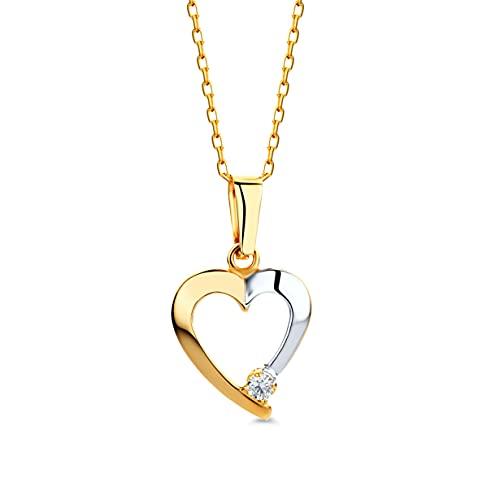 Miore Kette Damen Halskette mit Anhänger Herz Filigrane Kette aus Gelbgold 9 karat / 375 Gold mit Herzanhänger bicolor Geblgold und Weißgold und Zirkonia Stein, Halsschmuck 45 cm lang