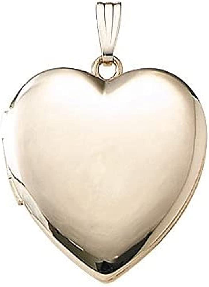 Solid 14k Yellow Heart Plain Yellow Picture Locket - 1 Inch X 1 Inch in Solid 14K Yellow Gold with Engraving
